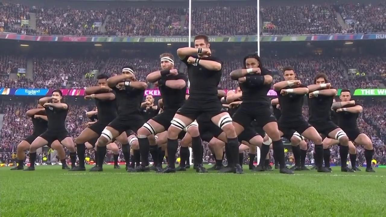 New Zealand All Blacks perform the haka ahead of Rugby World Cup Final