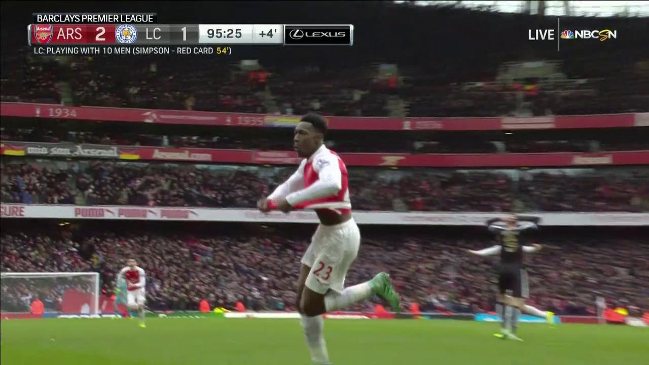 Danny Welbeck Stuns Leicester With Incredible Stoppage Time Goal Nbc Sports
