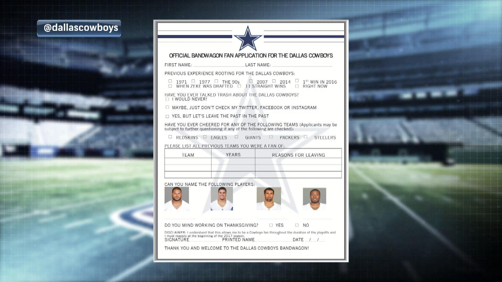 Dallas Cowboys have an application for bandwagon fans | NBC