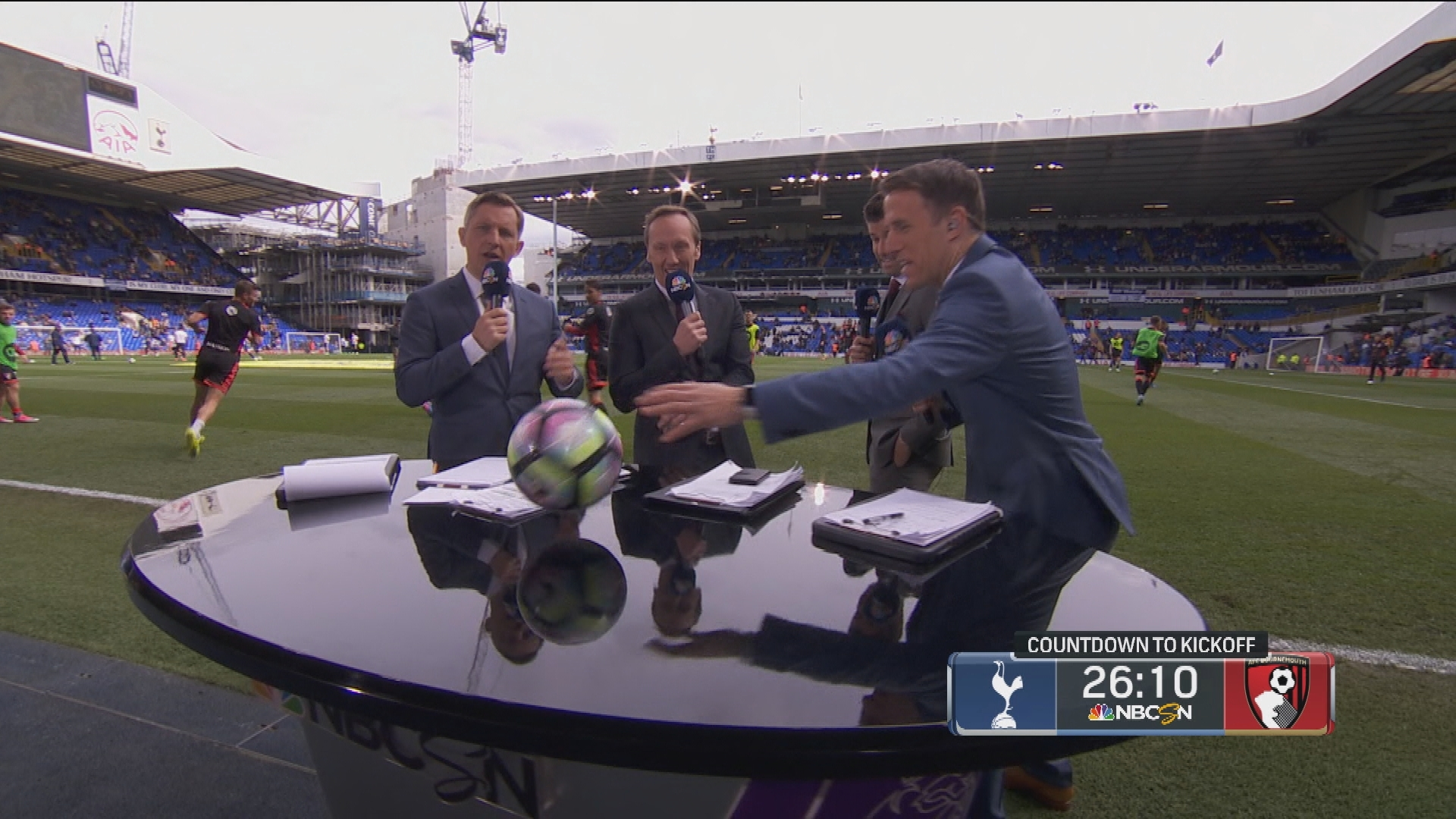 Stray Ball From Bournemouth Warm Ups Interrupts Pitchside Desk Coverage Nbc Sports