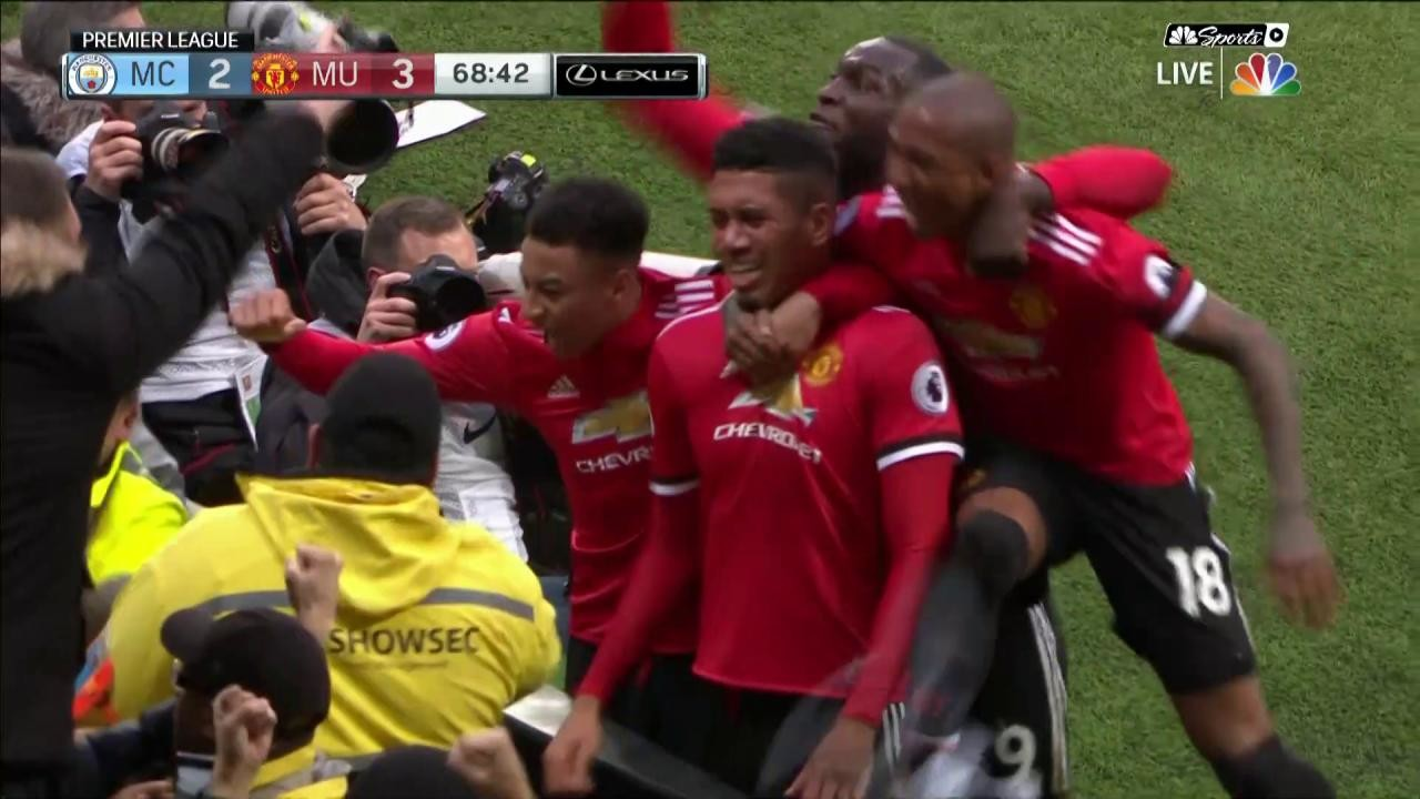 Man United's Chris Smalling makes it 3-2 against Man City
