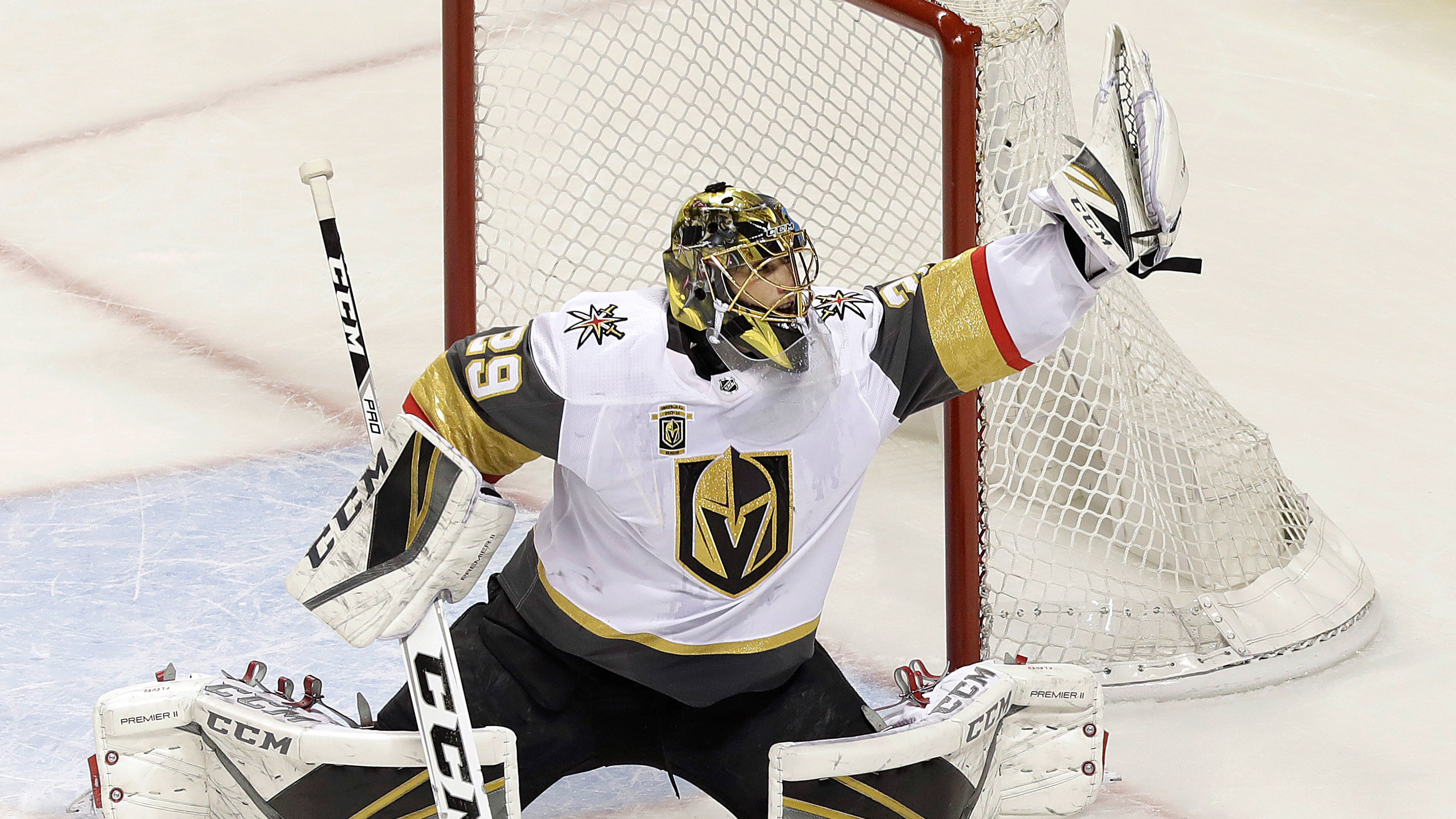 Golden Knights Marc Andre Fleury Makes Insane Save On Logan Couture