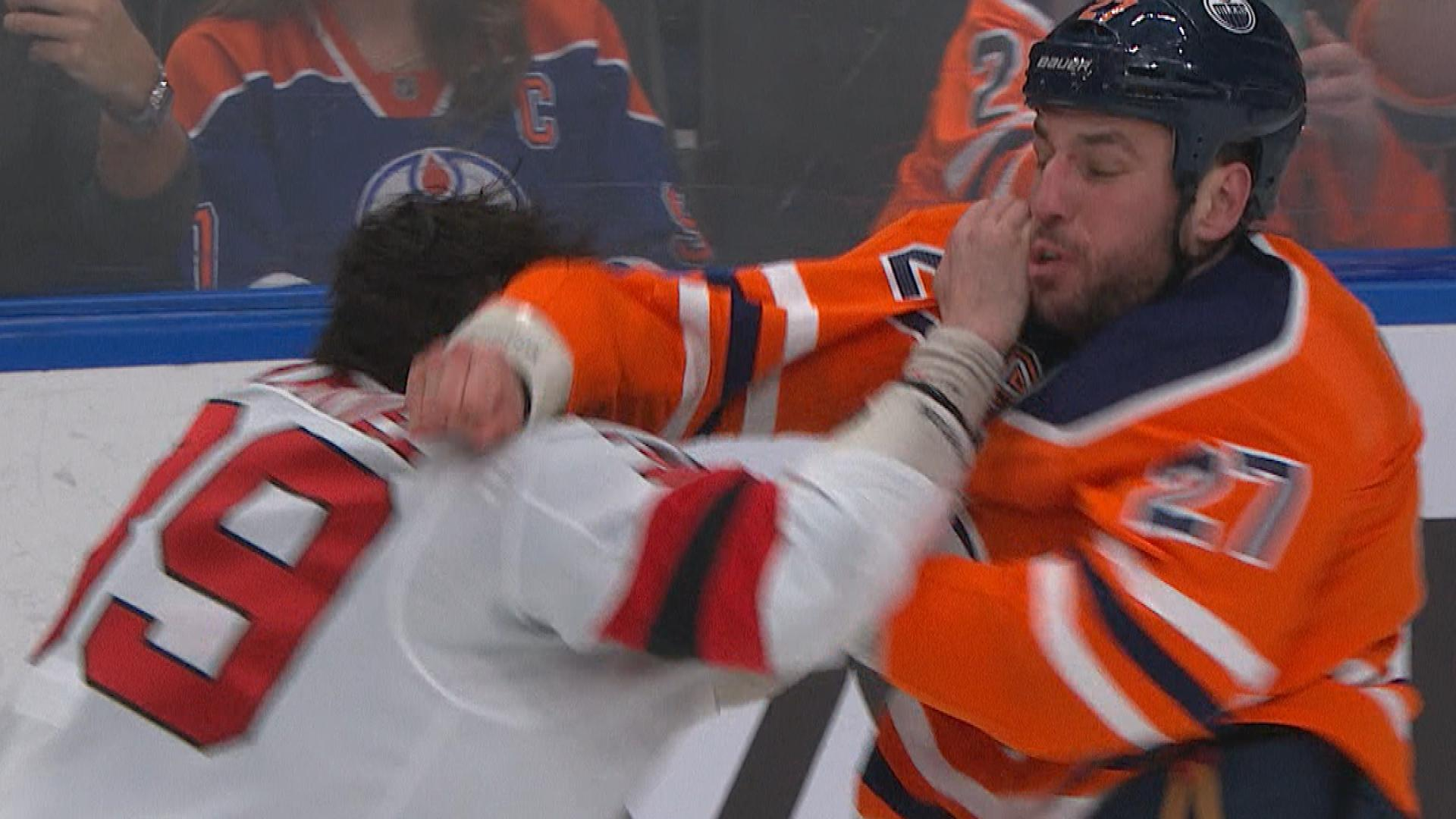 new product f1652 b32cc Kurtis Gabriel, Milan Lucic fight, throw punches in Devils ...