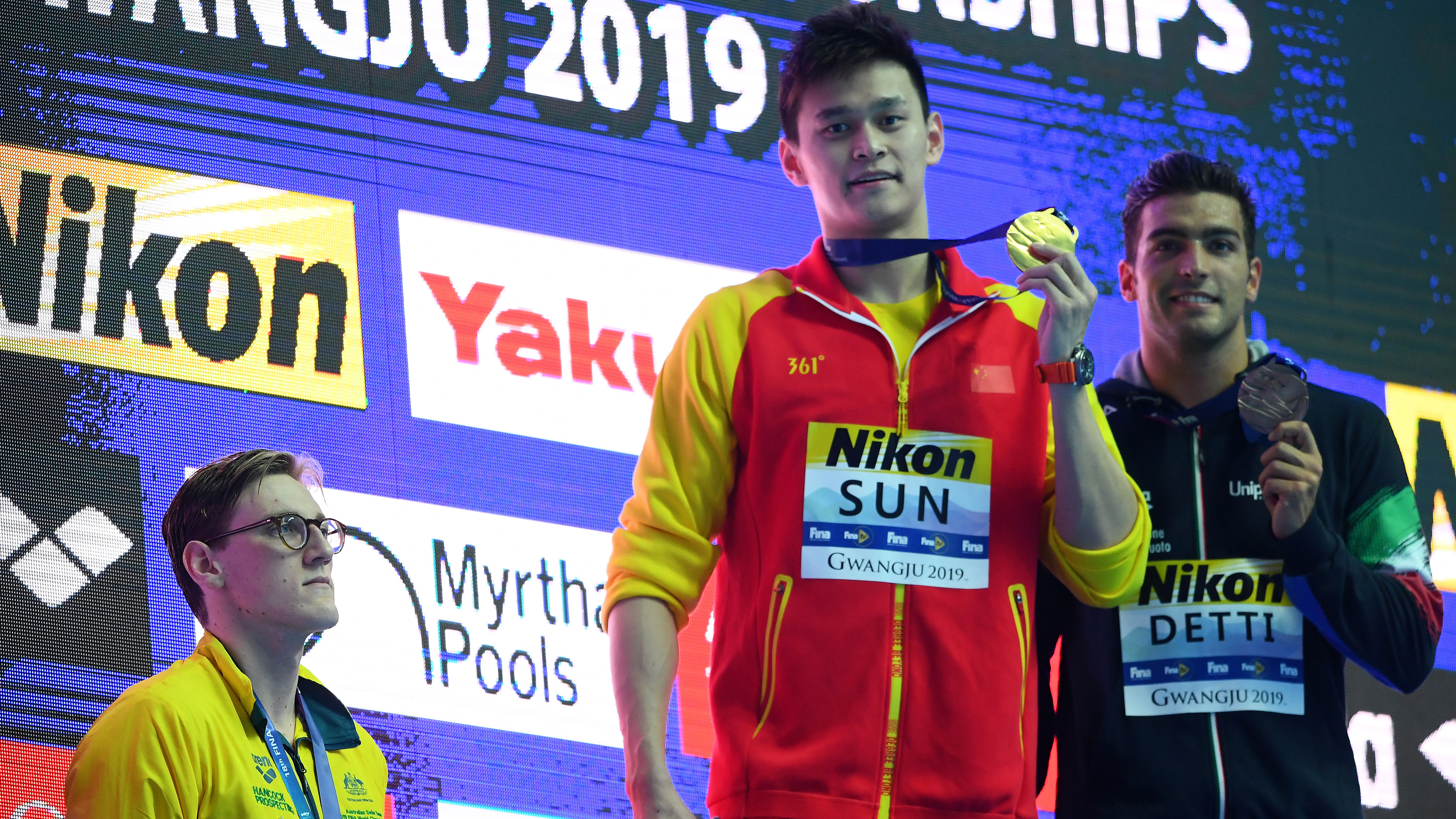 Mack Horton refuses to share podium in protest of Sun Yang at worlds