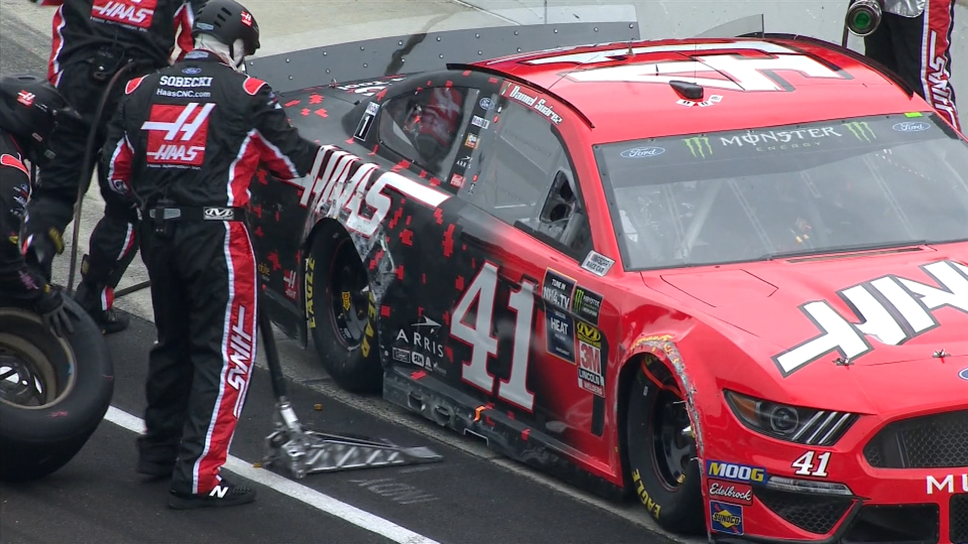 Daniel Suarez makes early contact with wall during Brickyard