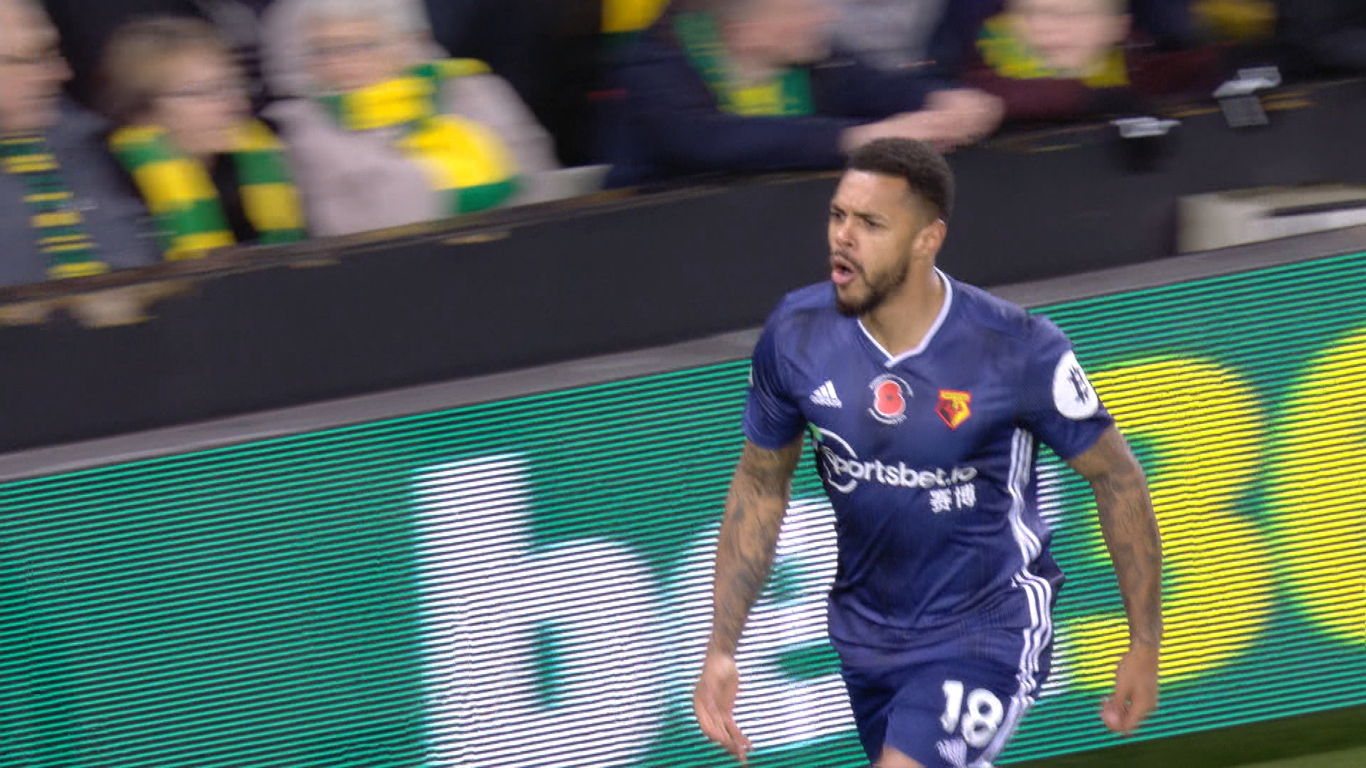 Andre Gray doubles Watford's lead v. Norwich City