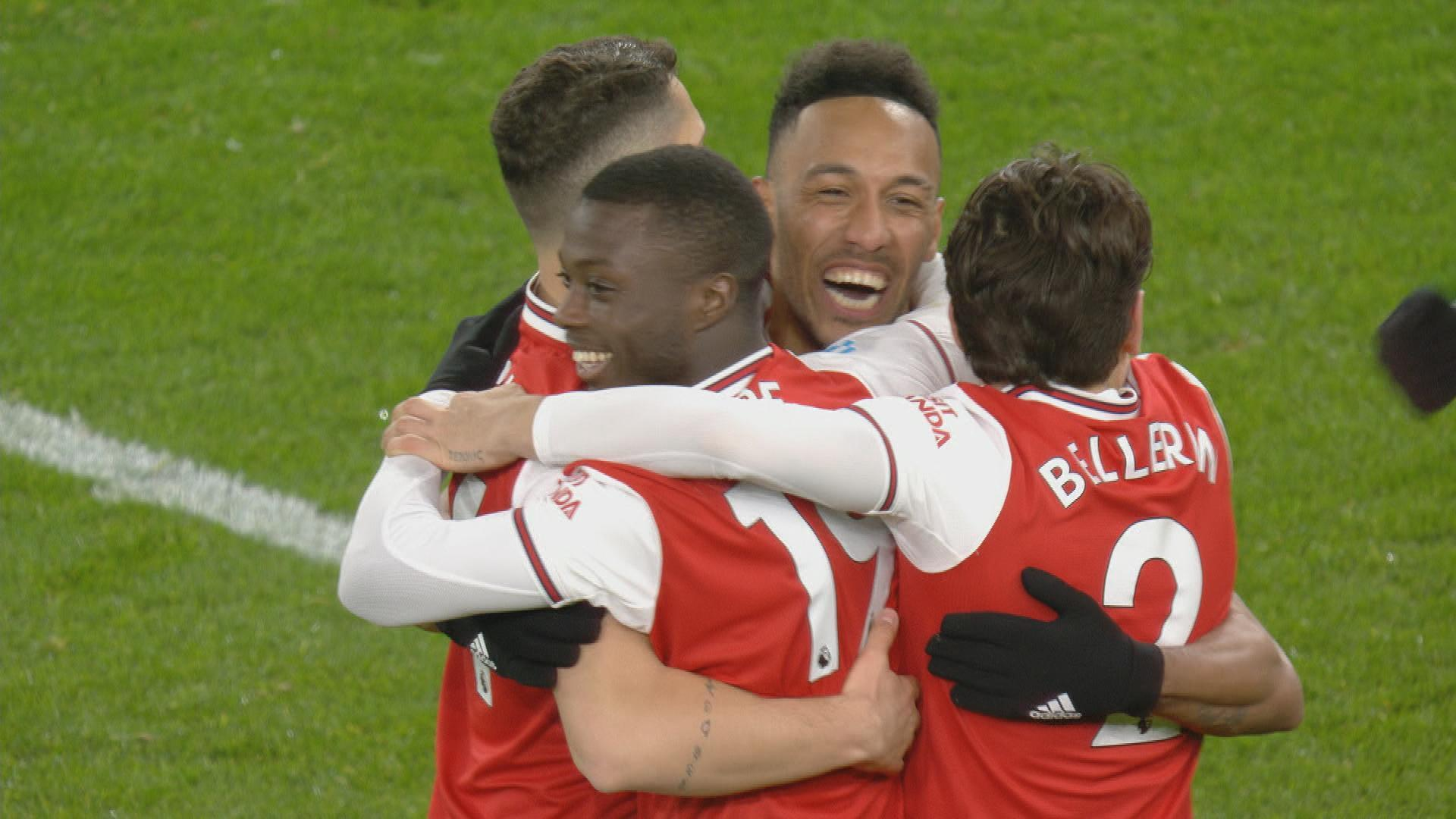 Pierre-Emerick Aubameyang heads Arsenal in front of Newcastle