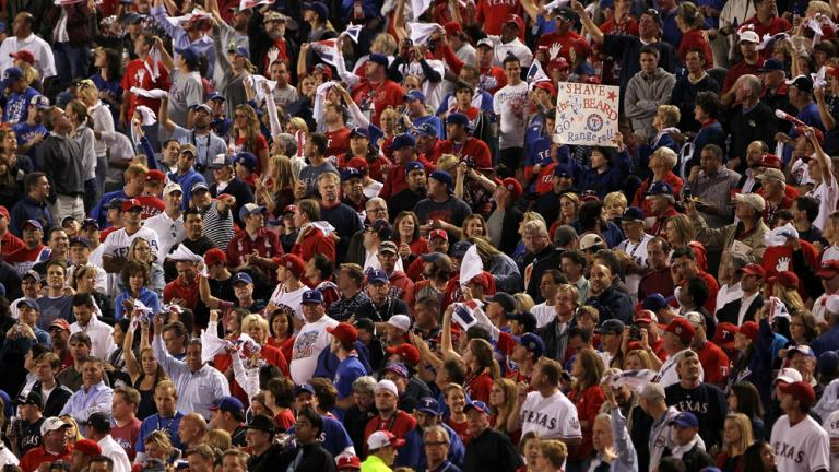 A sea of red and blue