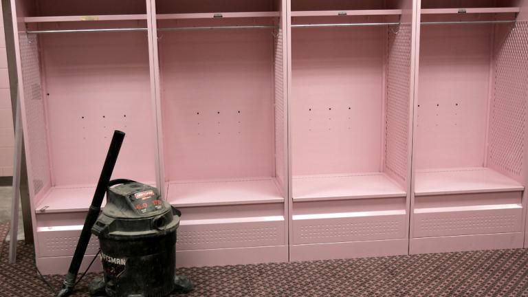 The visitor's locker room at Kinnick Stadium