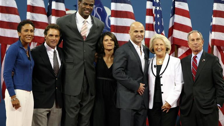 Robin Roberts, Doug Flutie, David Robinson, Mia Hamm, Andre Agassi, Lucy Garvin, and Michael Bloomberg