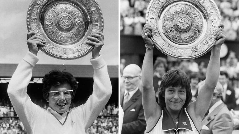 "<div align=""center"">Answer: Billie Jean King (six singles, 10 doubles, four mixed) and Martina Navratilova (nine singles, seven doubles, four mixed) with 20 total.</div>"