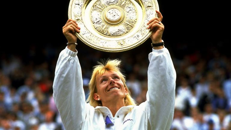 "<div align=""center"">Answer: Martina Navratilova with nine (1978, 1979, 1982-1987, 1990)</div>"