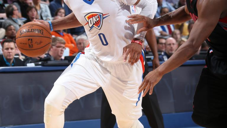Russell Westbrook's fifth triple-double in six games leads Thunder to win over Raptors