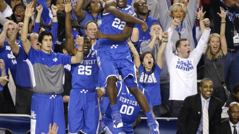 Final Four: (8) Kentucky 74, (2) Wisconsin 73