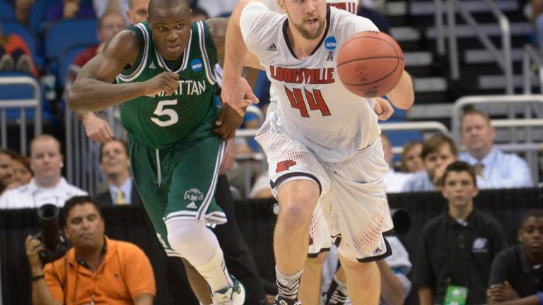 Second Round: (4) Louisville 71, (13) Manhattan 64