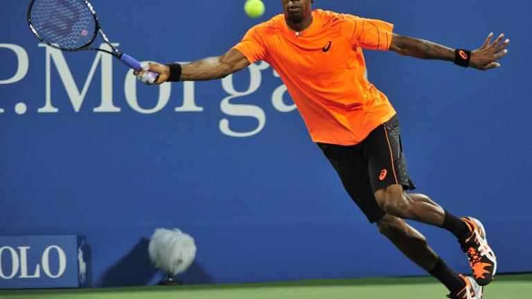 Monfils stretches, but not far enough
