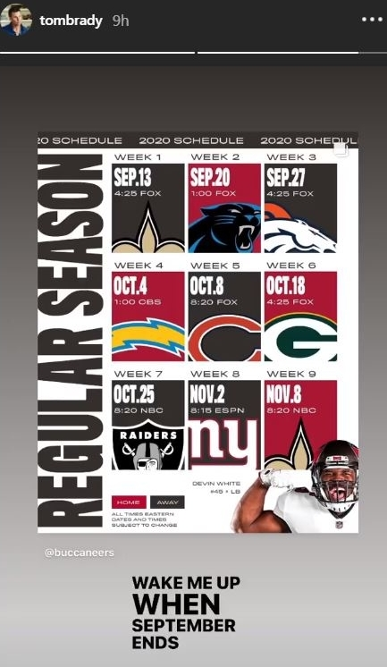 nfl schedule 2020 what s with tom brady s reaction to bucs slate rsn nbc sports