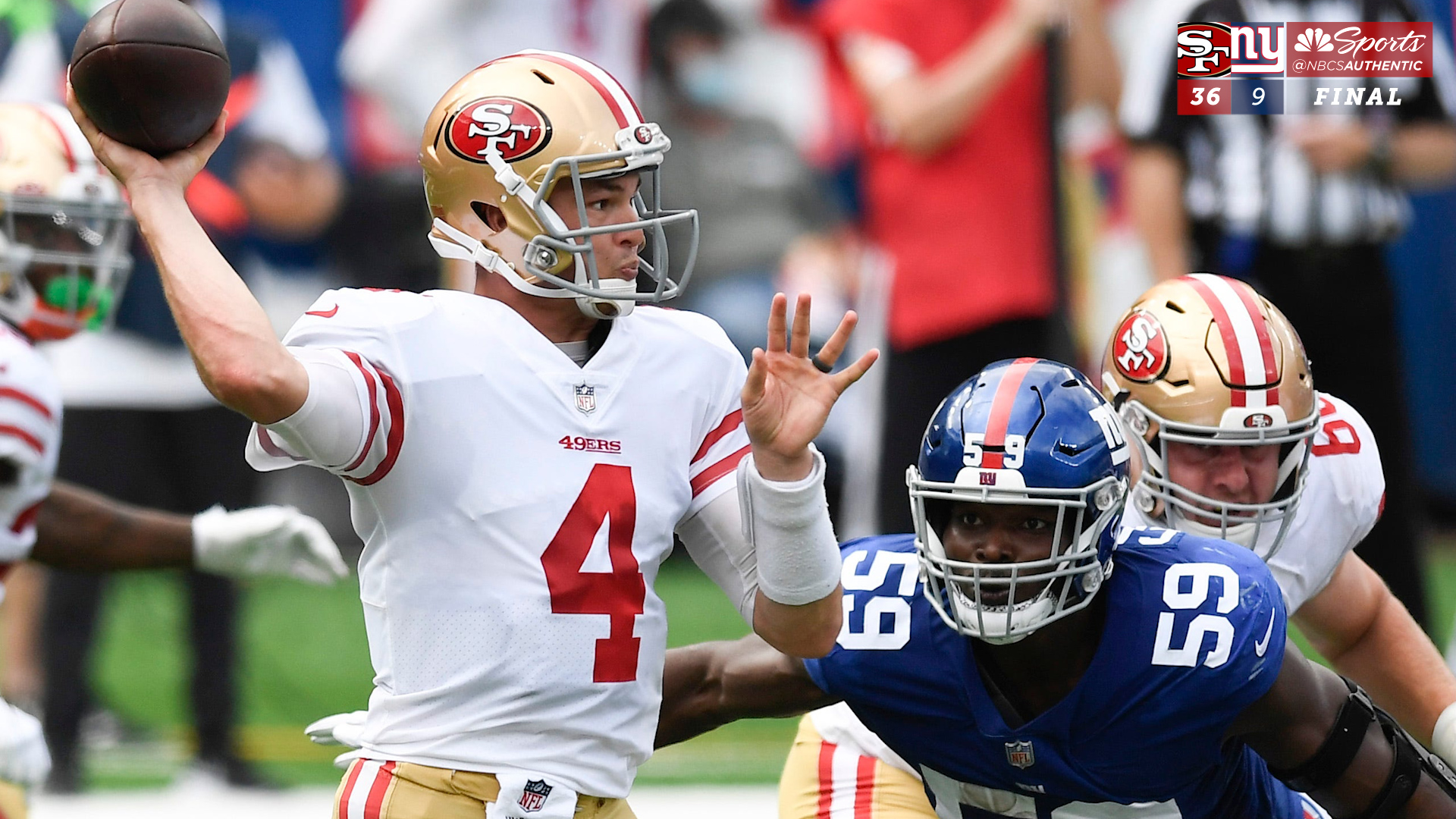 Nick Mullens 'let it rip' and picked up pylons in 49ers' win vs. Giants