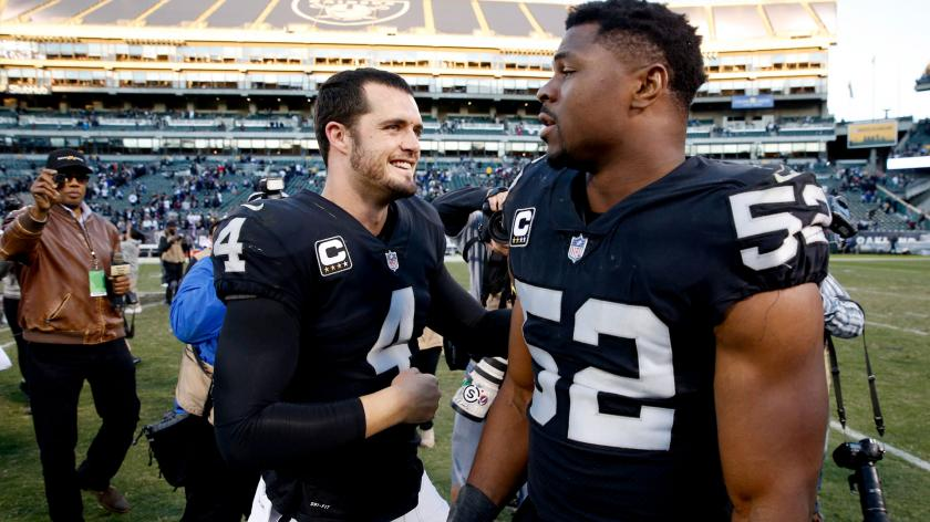 Raiders Derek Carr Dismissed By Khalil Mack When Asked About Being Dunked On Rsn