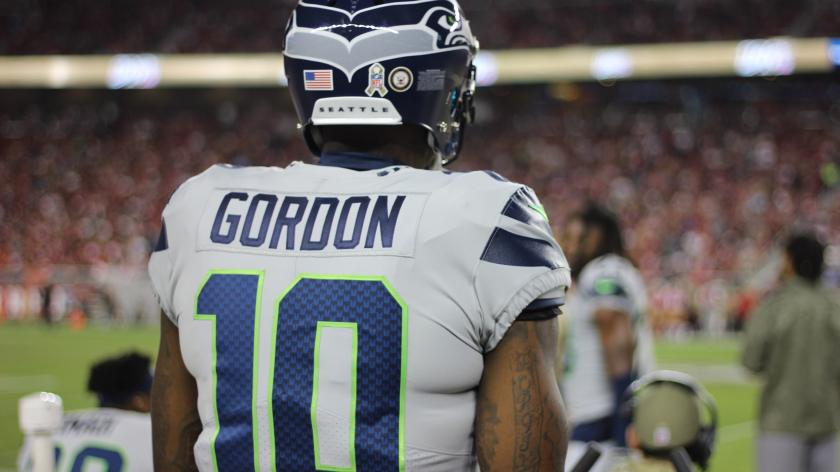 """Seattle Seahawks wide receiver Josh Gordon on the sideline """"pictured here"""""""