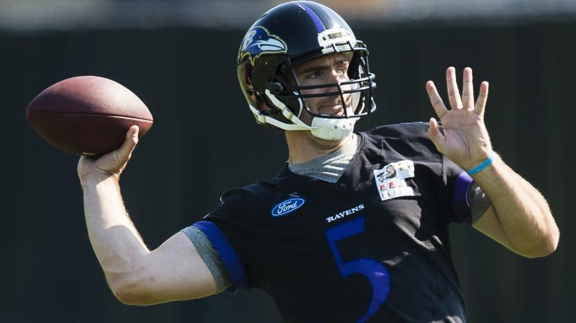 Joe Flacco back at practice for the first time since July | RSN