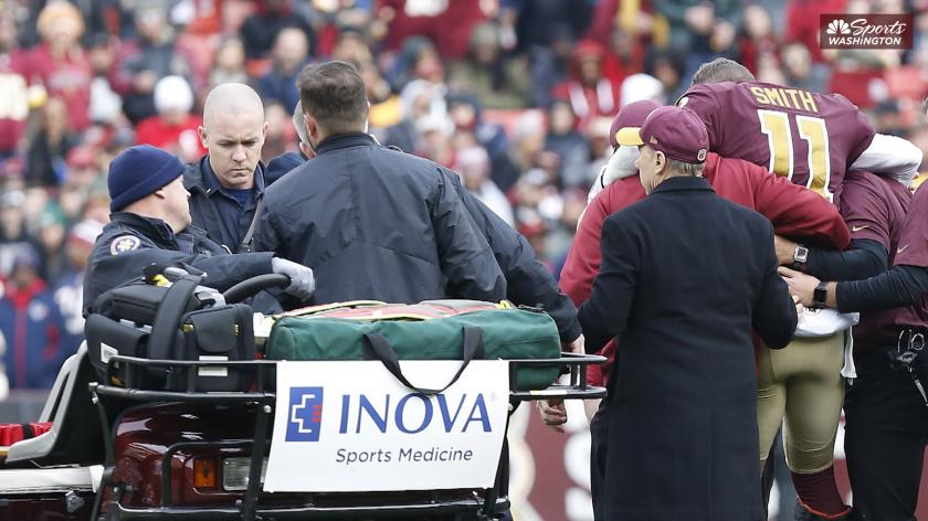 Eight Months Later Alex Smith Has External Fixator Removed From Injured Leg Rsn