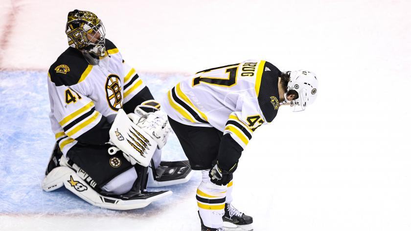 Jaroslav Halak and Torey Krug react after the Bruins lost Game 5 against the Lightning