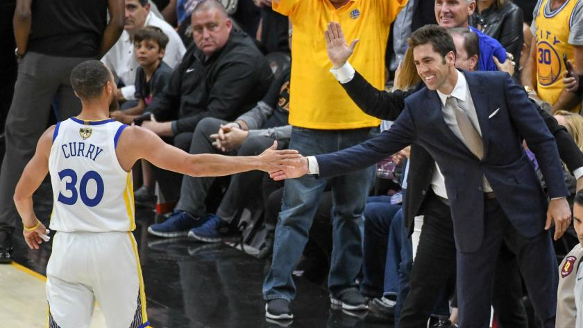 Warriors' Steph Curry, Bob Myers