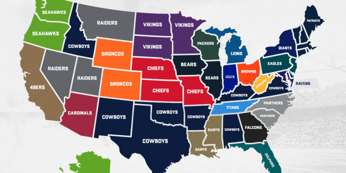 This map on best-selling NFL gear in the U.S. will enrage Washington Football Team fans