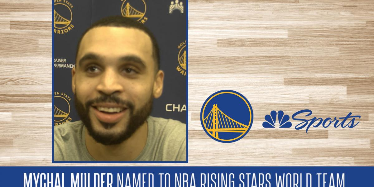Warriors' Mychal Mulder reacts to NBA Rising Stars World Team honor