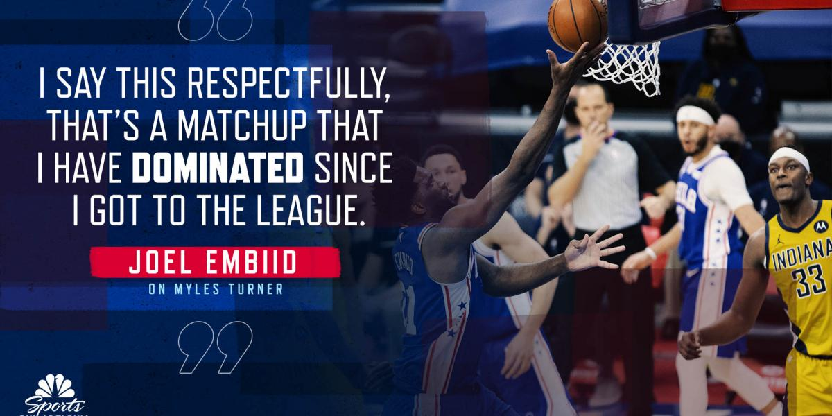 Joel Embiid says he's dominated Pacers' Myles Turner his entire career