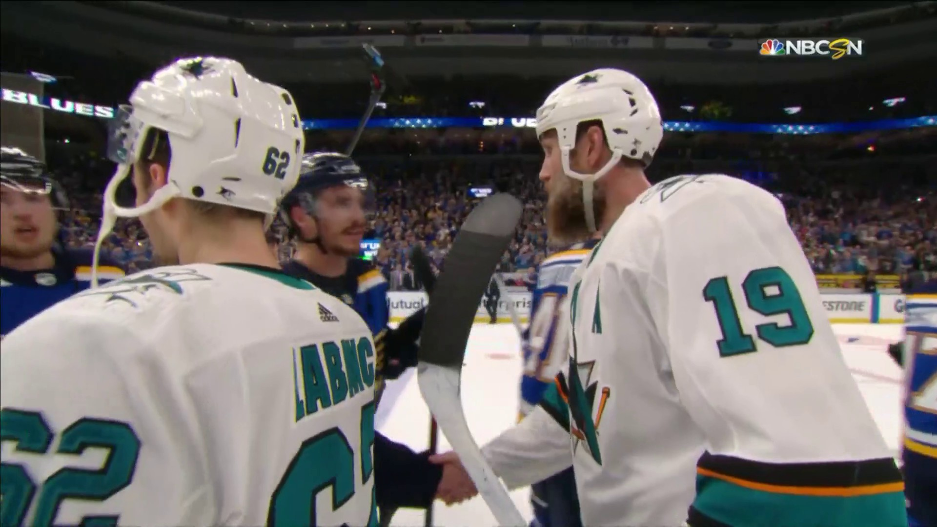 Sharks shake hands with Blues after tough Western Conference final loss