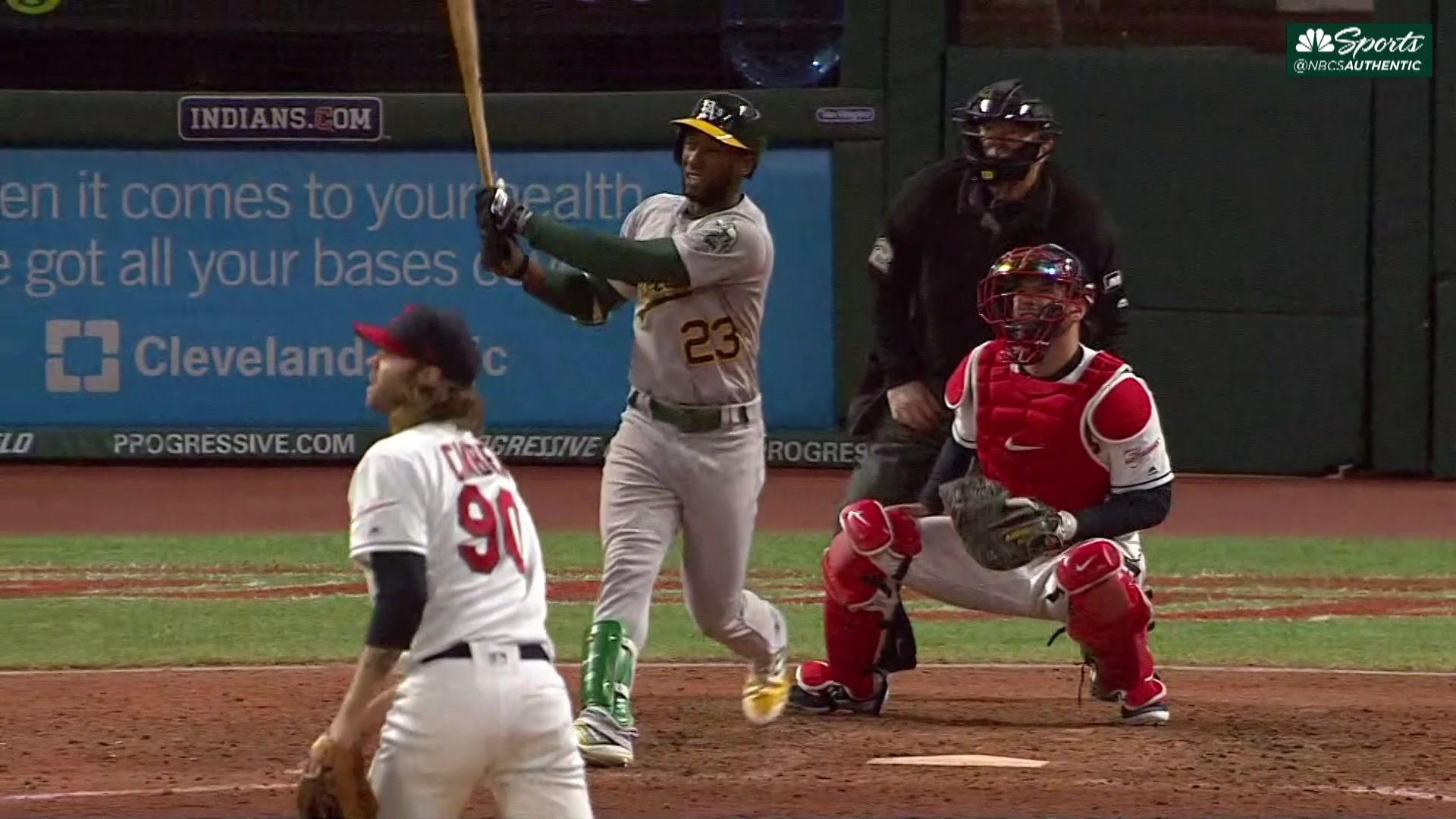 A's lose Khris Davis to injury, but beat Indians for fifth straight win