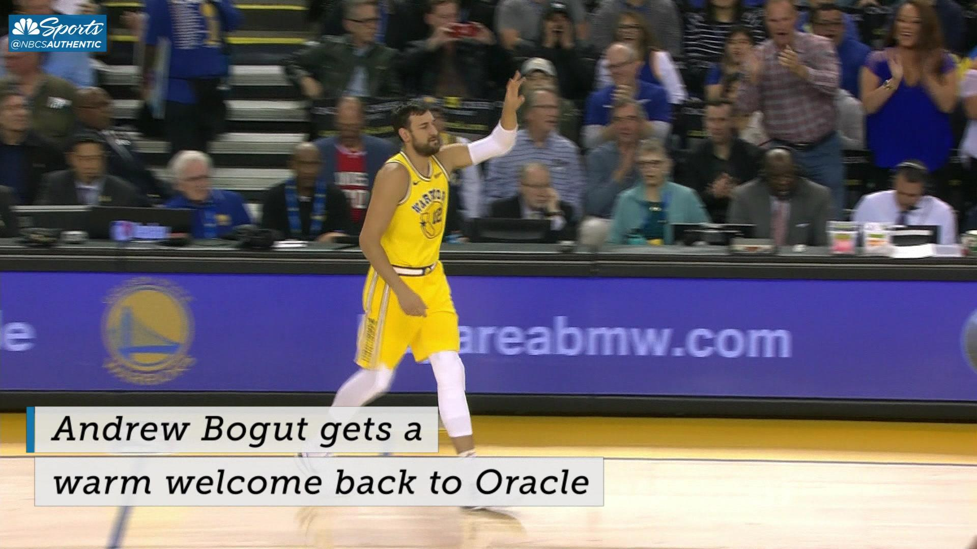 Andrew Bogut gets a warm welcome in first game back at Oracle