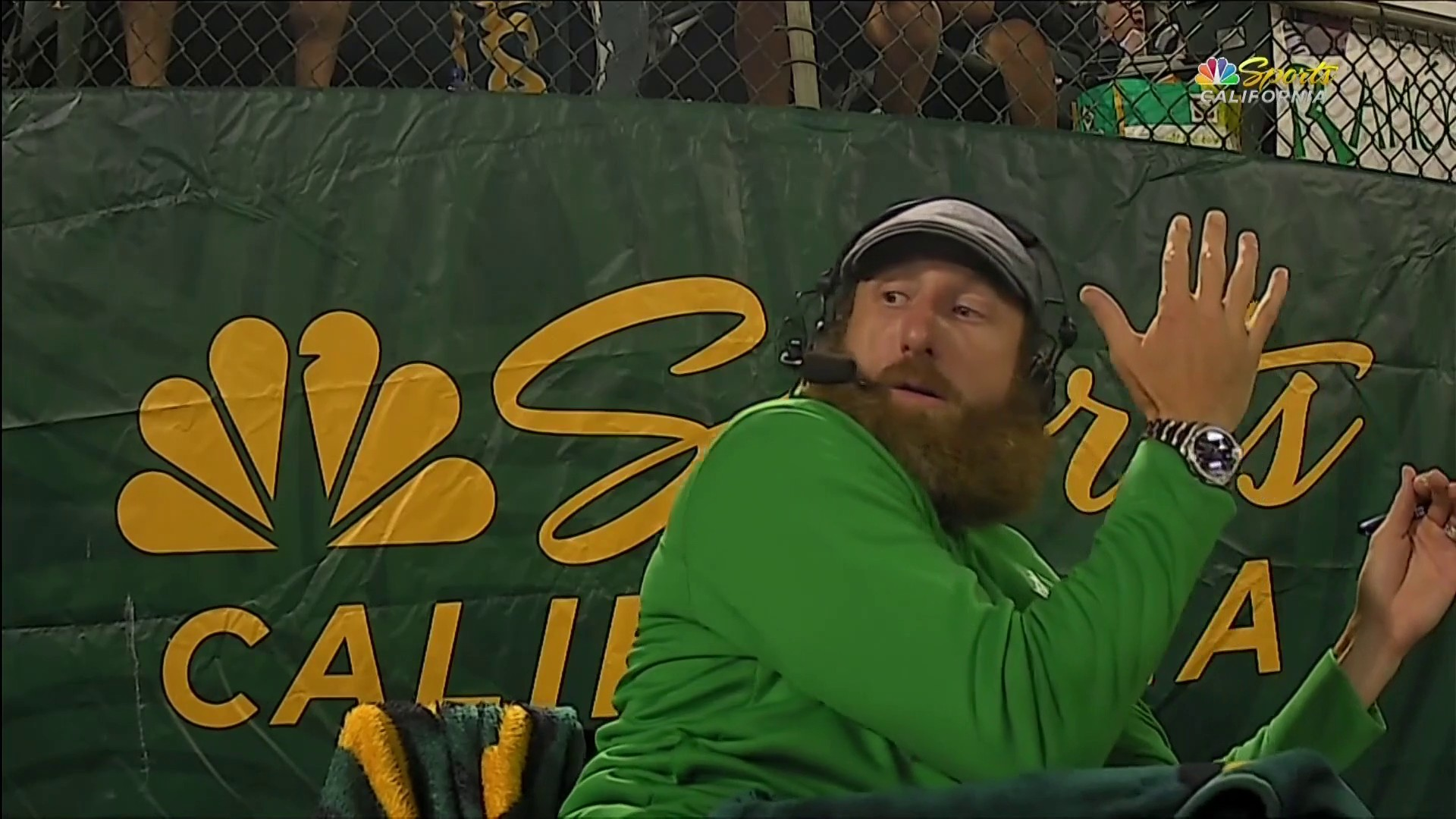 Look out! Net saves Dallas Braden from getting impaled by broken bat