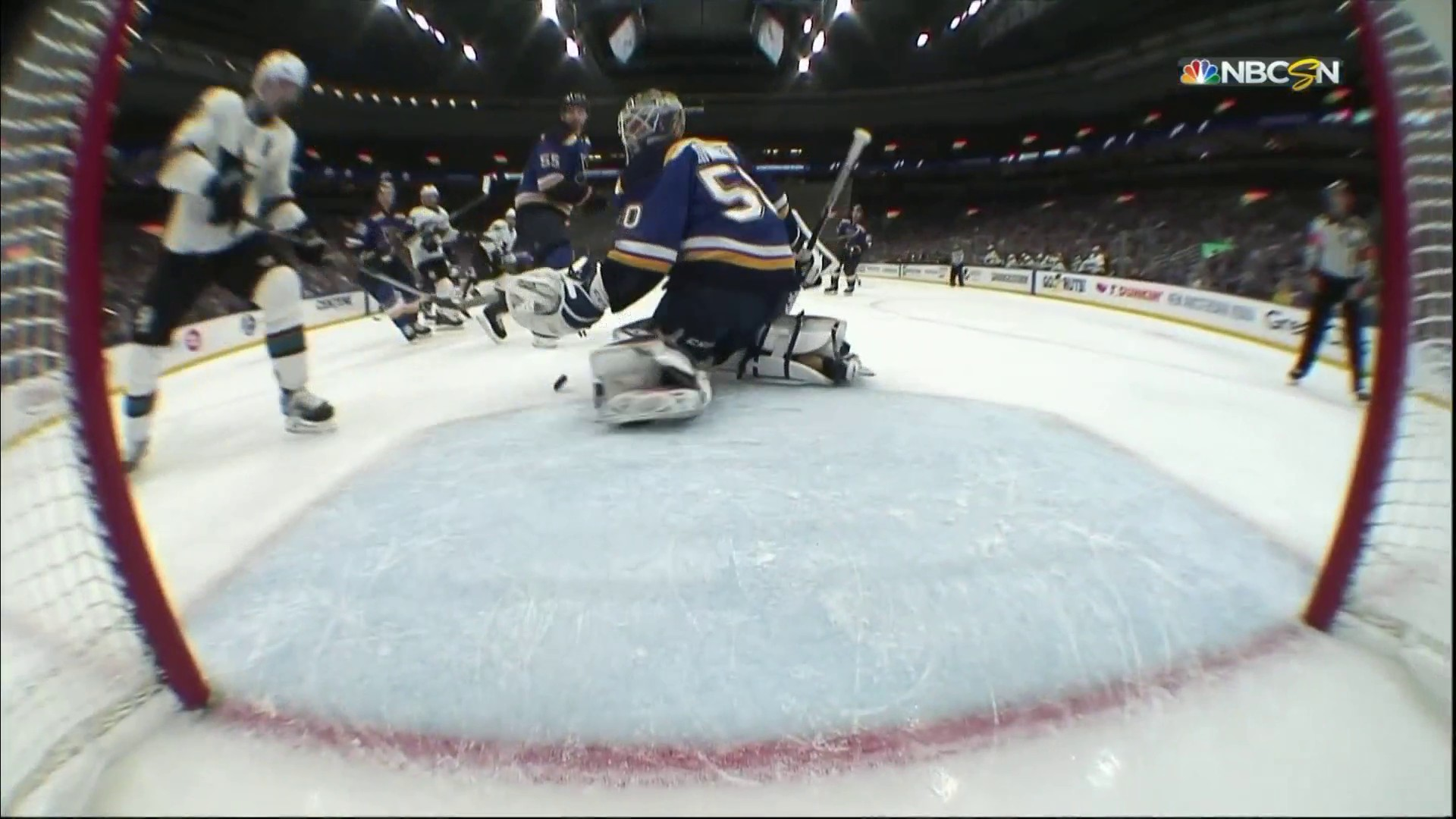 Logan Couture whiffs on loose puck in front of Blues net in Game 6