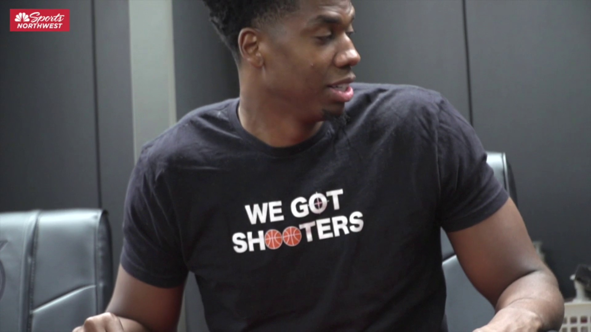 Hassan Whiteside sees his Blazers locker for the first time