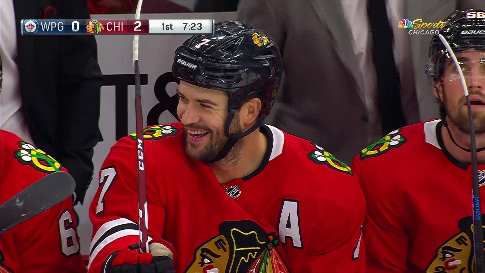 Brent Seabrook's first goal of the season to extend the Blackhawks