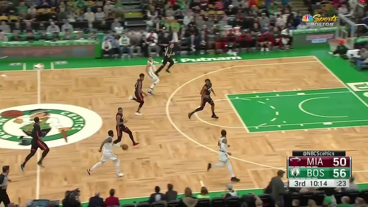 Kyrie Irving passes between the legs to Marcus Smart for 3