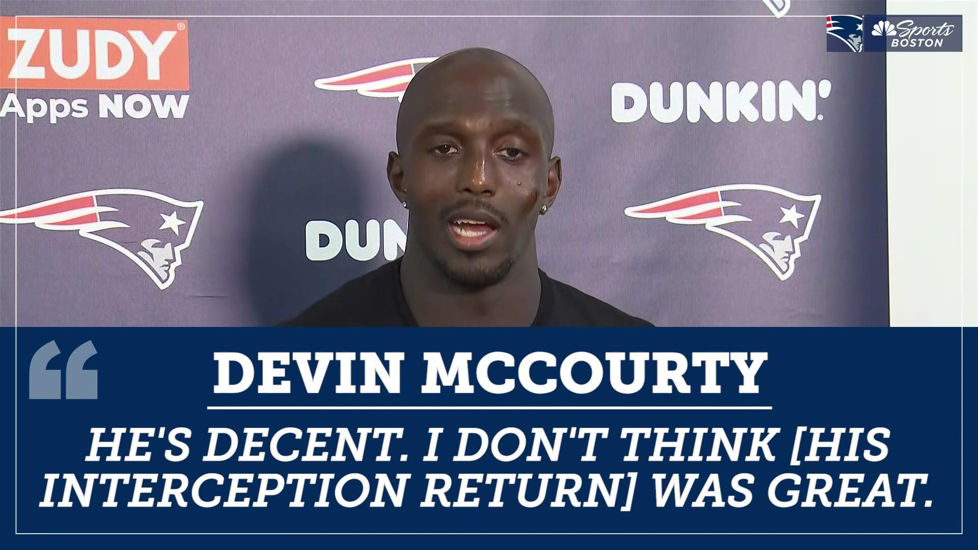 Devin McCourty wasn't impressed with Jamie Collins' pick-six