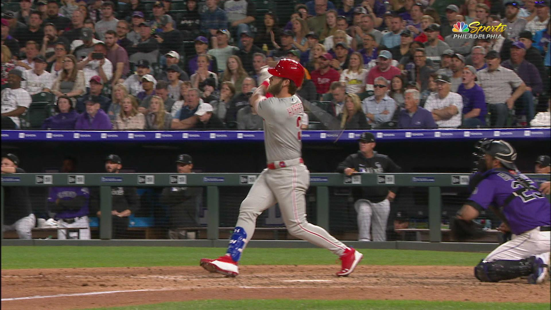 Bryce Harper crushes a ball to give the Phillies a 7-3 lead
