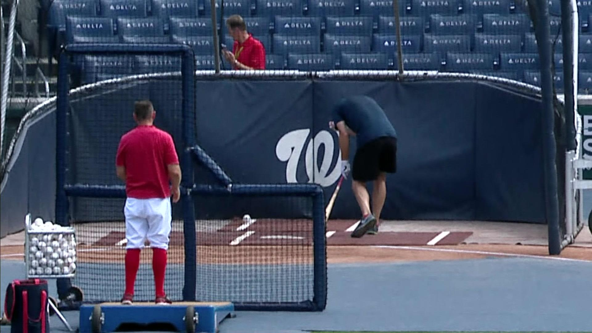 Nationals pitcher Max Scherzer leaves BP after fouling ball off his