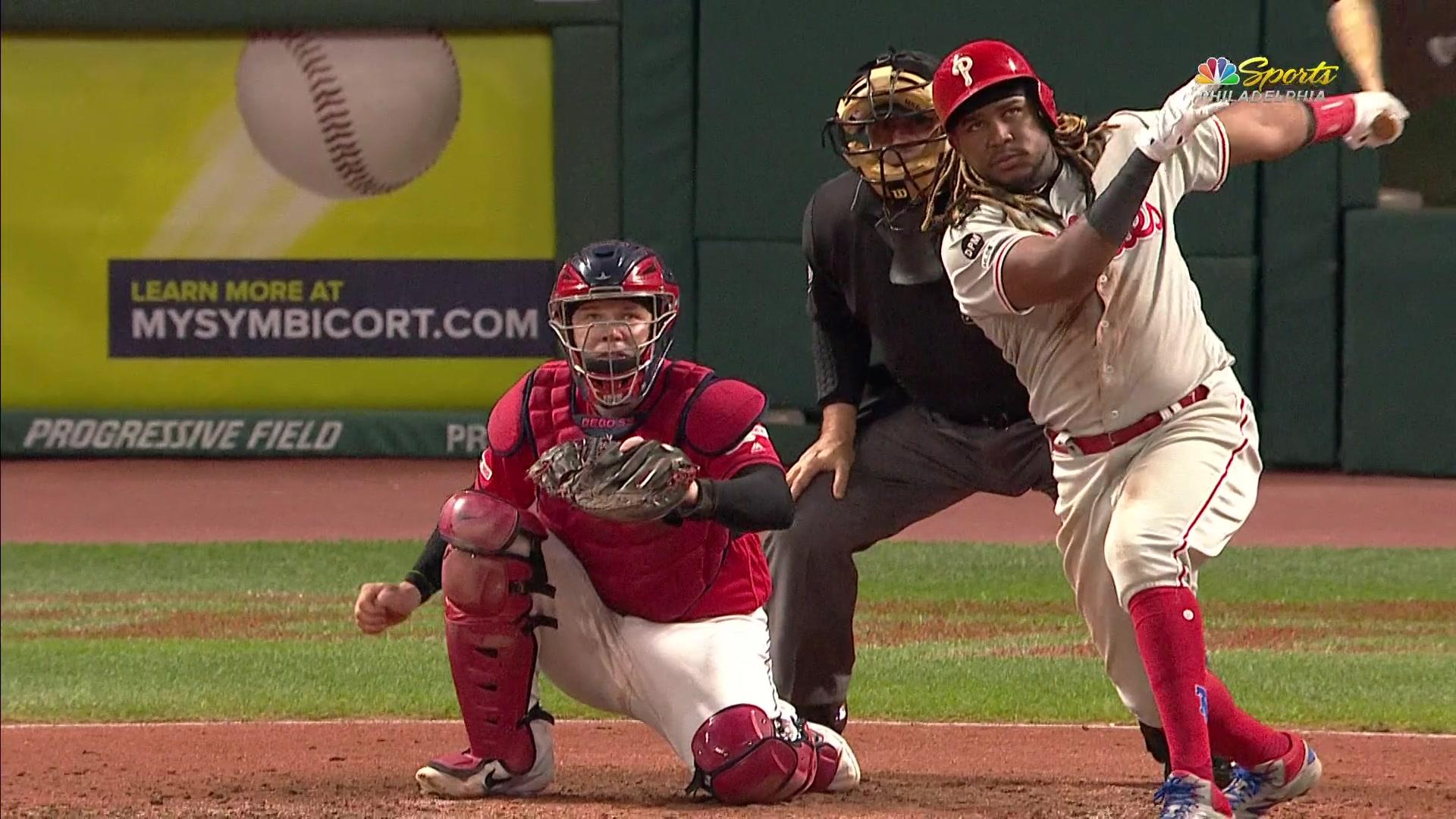 Maikel Franco delivers a two run double in the 5th inning in Cleveland