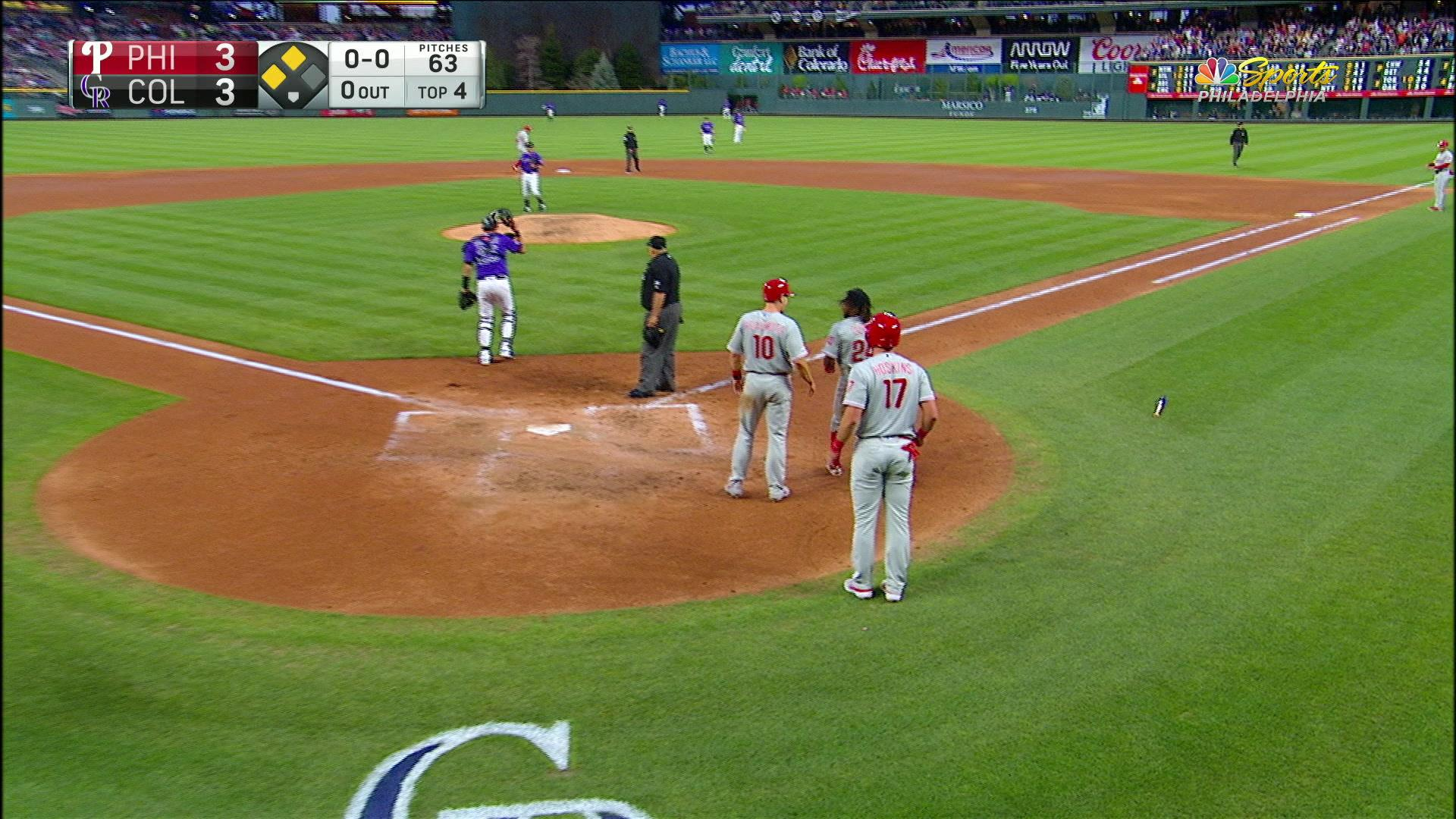 West Chester's own, Phil Gosselin, clears the bases