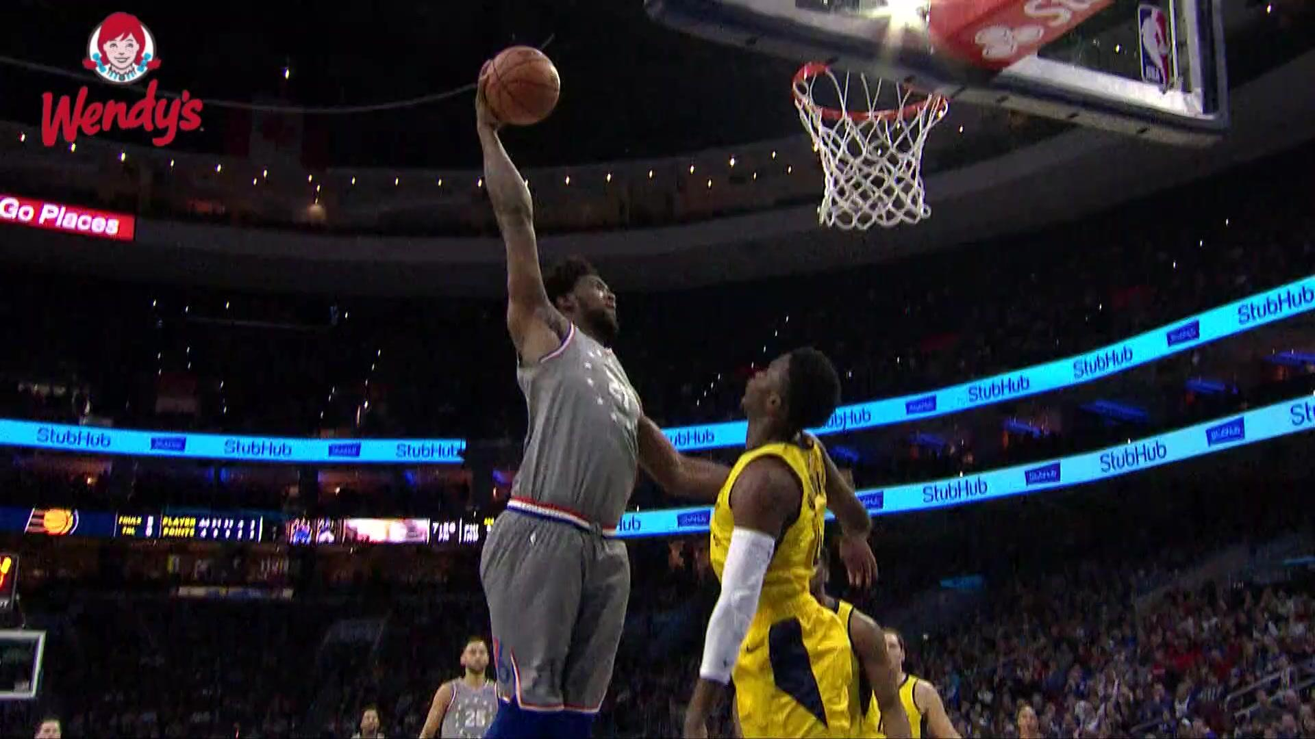 Ben Simmons finds Joel Embiid for the monster slam against the Pacers