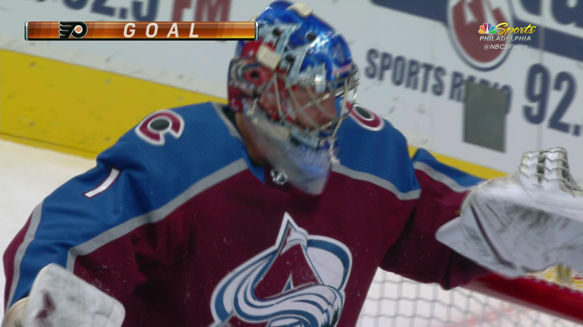 Sean Couturier scores his 1st goal of the season vs. Avalanche