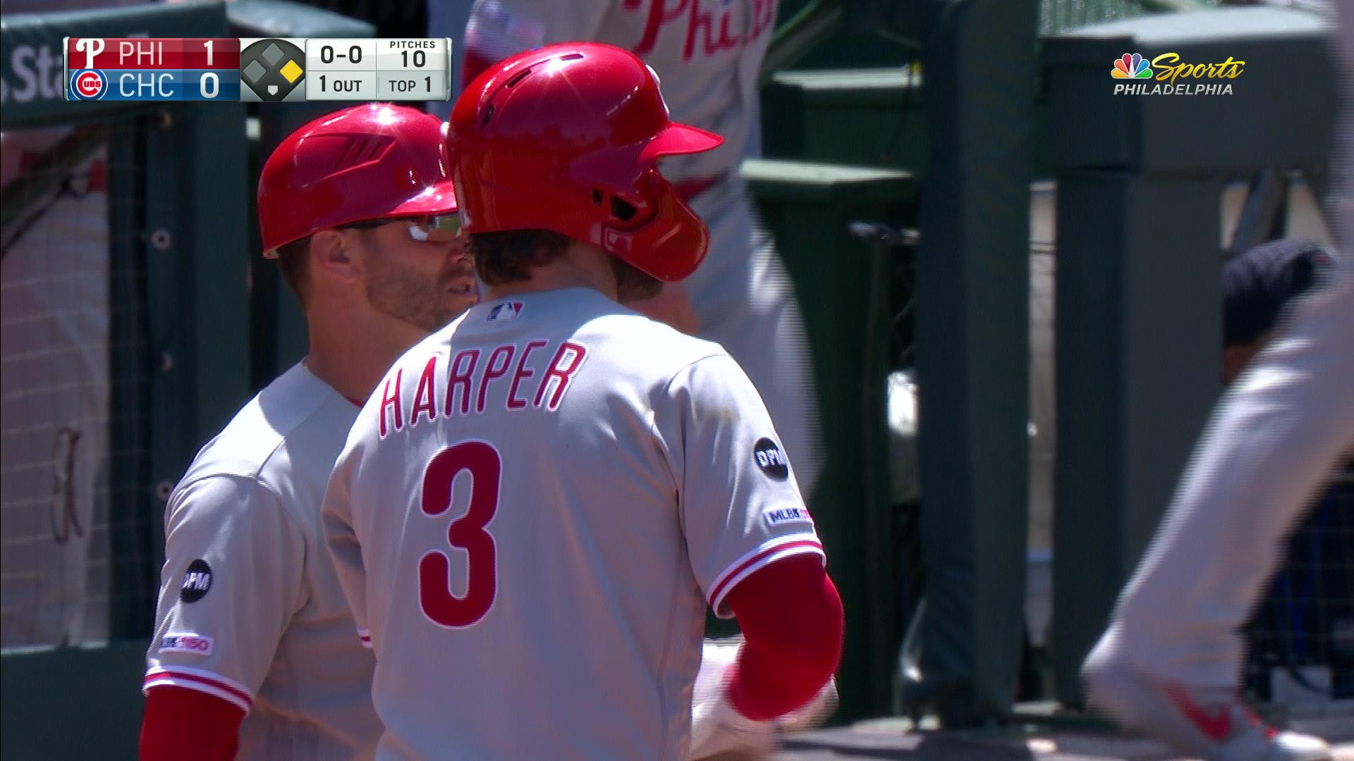 Bryce Harper delivers early in the first inning to give Phillies 1-0 lead