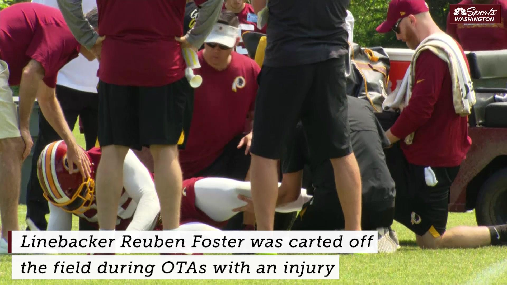 Redskins LB Reuben Foster injured, carted off field at OTAs