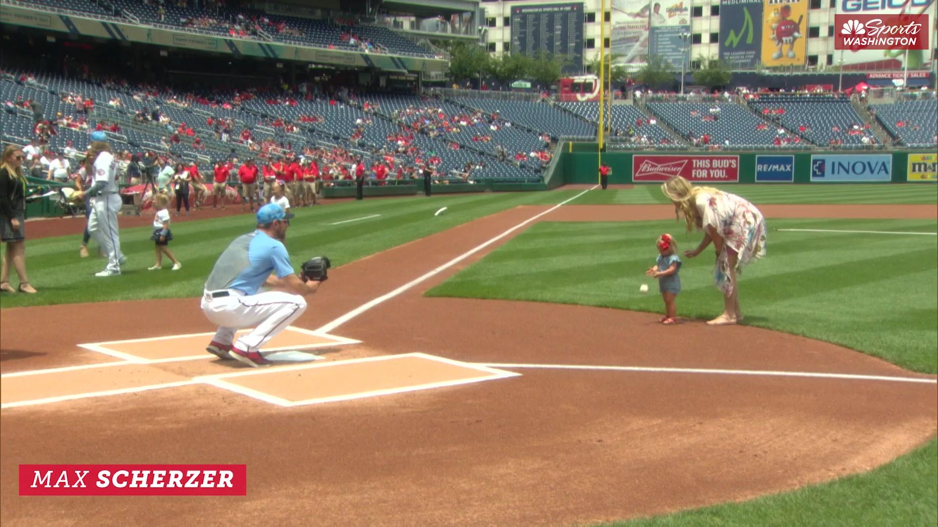 Nationals catch first pitches from their kids on Father's Day